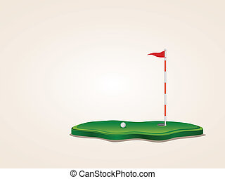 Golf Field - Stylized golf yard illustration, ball,...