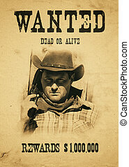 wanted far west - vintage wanted poster in a gost town