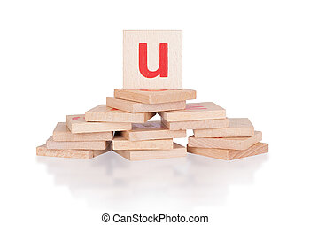 Alphabet - letter U - Alphabet - abstract of vintage wooden...