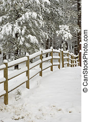 Snow Covered Wooden Rail Fence - The winter scene of a...