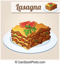 dettagliato, icona,  lasagna