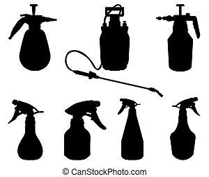 sprayer 2 - Black silhouettes of sprayer on a white...