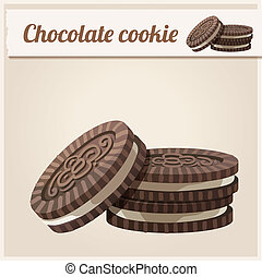 Chocolate cookie. Detailed Vector Icon. - Series of food and...