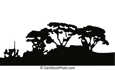 Copse - Silhouette of a wooded copse over a white background