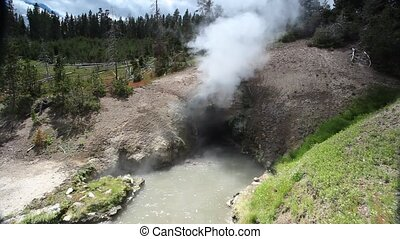 Yellowstone National Park - Dragons Mouth, Mud Volcano Pool,...