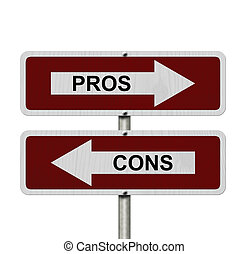 Pros versus Cons, Red and white street signs with words Pros...