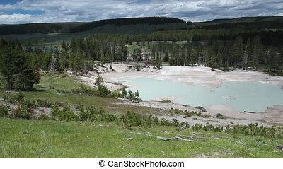 Yellowstone National Park - Geothermal pool, Mud Volcano,...