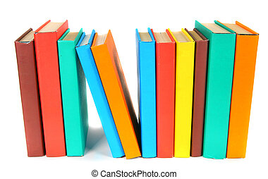 Multi-coloured books On white background - Multi-coloured...