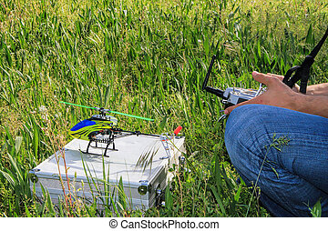 Radio Controlled Helicopter model hobby - Piloting Radio...