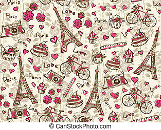 Paris vintage background - Seamless vector pattern with...