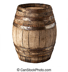 wood barrel - image of classic wood barrel on white...