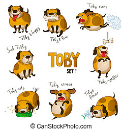 Cute cartoon dog Toby Set 1 - Vector illustration of funny...