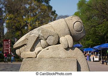 Chapultepec park symbol grasshopper chapulin sculpture DF...