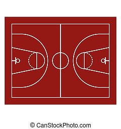 Basketball Field - Red Basketball Field Sport Background...