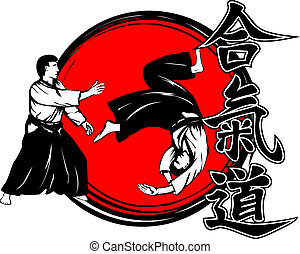 aikidokas - Vector illustration hieroglyph aikido and...