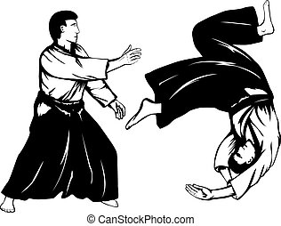 aikidokas - Vector illustration two aikidokas carry out a...