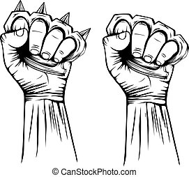 knuckledusters - Abstract vector illustration hand with...
