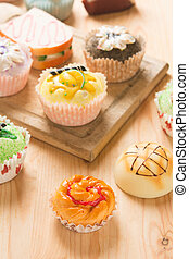 cupcakes with food backgrounds