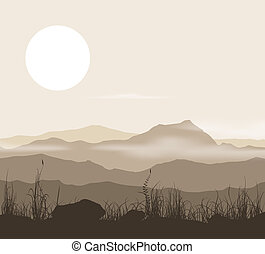 Landscape with grass and mountains over sunset.