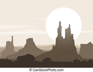 Lifeless landscape with mountains over sunset Vector eps10