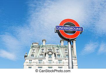 Sign underground in London