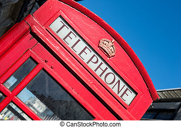 Typical London phone booth - Famous and traditional red...