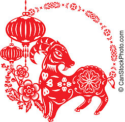 Chinese year of Lucky Sheep Lamb illustration in paper cut...