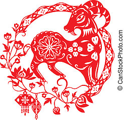 Chinese Year of Sheep Lamb illustration in red paper cut...
