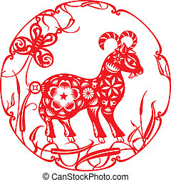 Chinese red Luck sheep illustration in paper cut style