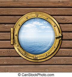 barco, o, barco, portilla