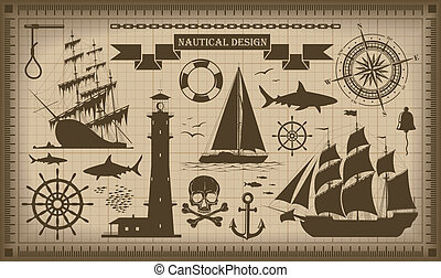 Set of nautical design elements,  vector EPS10