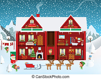 Inside the Santas House - Vector illustration of Santas...