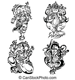 Tattoo style Lord Ganesha - vector illustration of tattoo...