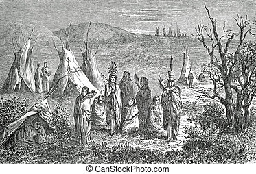 Camp of Sioux Indians, old engraving of Girardin dated on...
