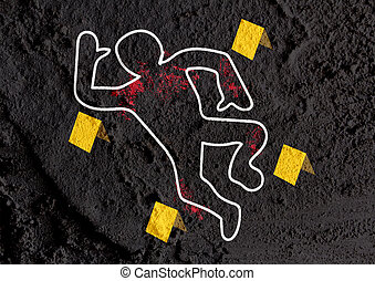 Crime scene danger tapes illustration on wall texture...