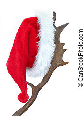 Santa klaus hat - Santa hat hanging on antlers on white...