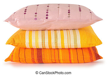 Overlapped pillows - Colorful pillows with clipping path.