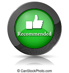 Recommended icon - Green shiny glossy icon on white...