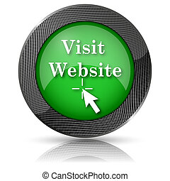 Visit website icon - Green shiny glossy icon on white...