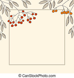 Branches of mountain ash in the frame - Decorative card with...