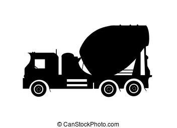 cement truck - illustration, silhouette of cement truck...