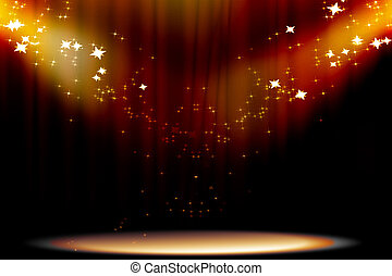 Curtain background with spotlights
