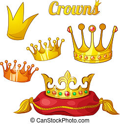 Set of royal gold crowns isolated on white - Yellow cartoon...