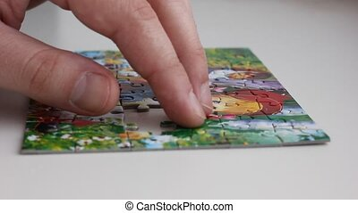 collecting pieces of puzzle picture