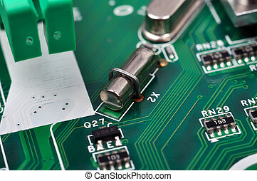 Capacitor and microchips, close up
