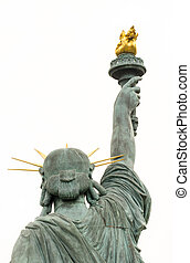 The Statue of Liberty on the Ile aux Cygnes in Paris, back view