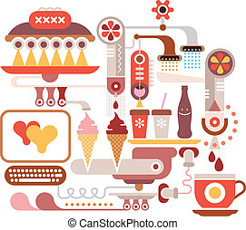 Fast Food Restaurant - vector illustration. Isolated on...