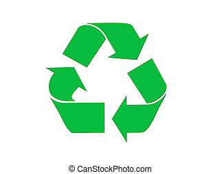 Green recycling symbol isolated on white background.
