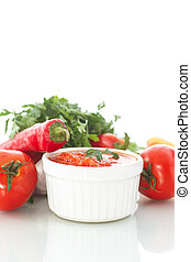 adjika - natural homemade sauce of tomatoes, peppers and...