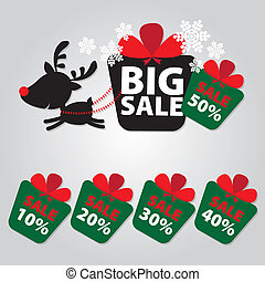 Big Sale New Year and Christmas Reindeer Sticker tags with...